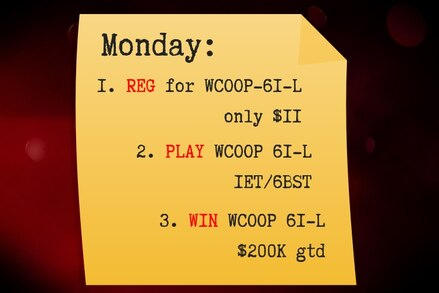 Reg. Play. Win. The Low Stakes plan for the $11 WCOOP-61-L finale