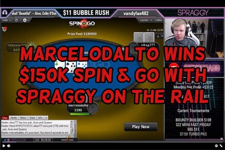 Uruguay's marcelodalto wins $150,000 in $15 Spin & Go, Spraggy rails and streams on Twitch